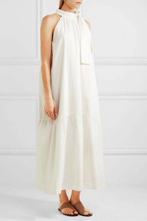 Le Fashion Blog Under 500 White Bow Embellished Cotton Maxi Dress Via Net A Porter
