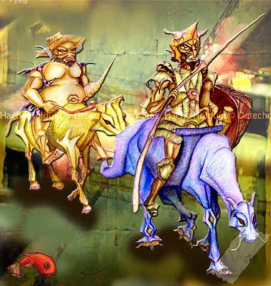 Ilustración de El Quijote y Sancho por Hache Holguín