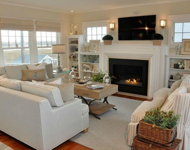 How to get the look of this beachy family room on a budget
