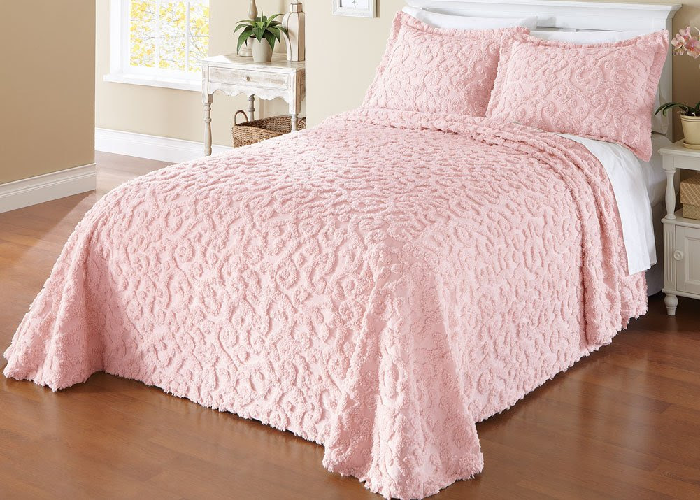Amazon.com - Collections Etc Elegant Scroll Chenille Bedspread ...