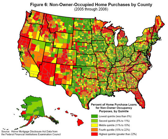 Non-occupied home purchaes by County