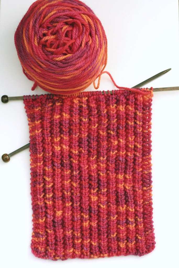 Lever knitting -- practice scarf 2