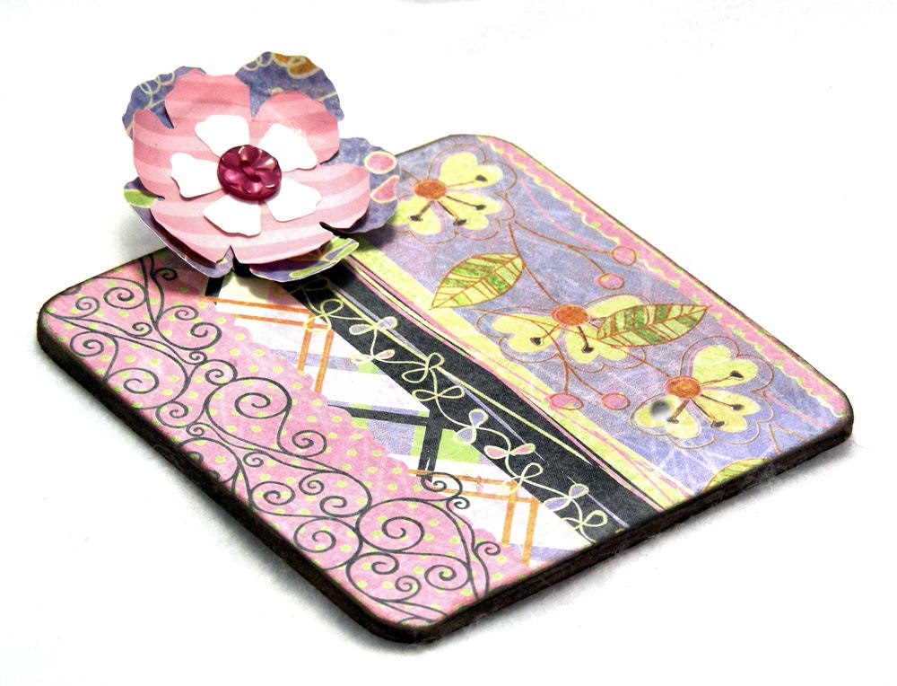Floral Harmony Post-it Note Mini Clipboard with pad, 2-sided, pink - blue - green - MisterPenQuin