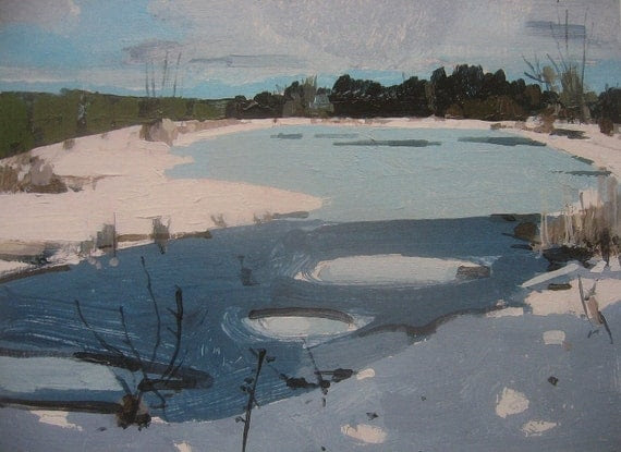 Archival Print of Original Landscape Painting, Thaw, Trout Pond