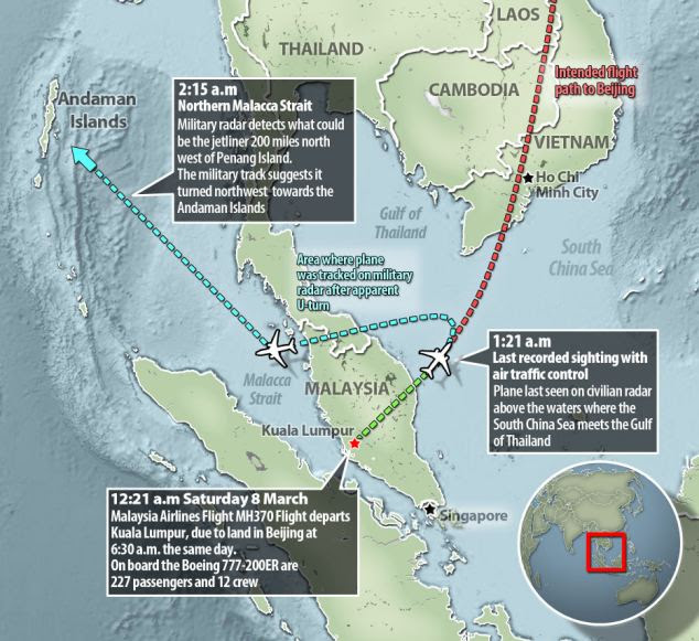 Malaysian Airlines MH370, new flight path data