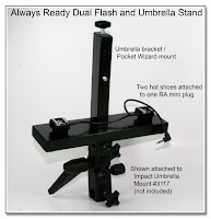 DF1040: Always Ready Dual Flash, PW and  Umbrella Stand - Shown on Impact Tilting Umbrella Stand