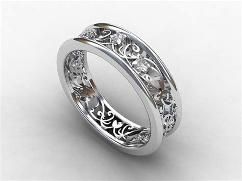 Filigree White sapphire engagement ring, art deco, floral