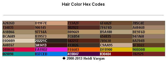 Hair Color Hex Codes – PDF Download