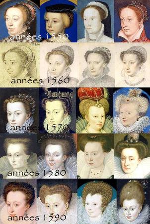 Evolution de la coiffure de 1550 à 1600