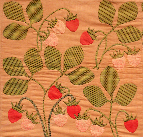 Strawberry applique quilt at the Folk Art Museum