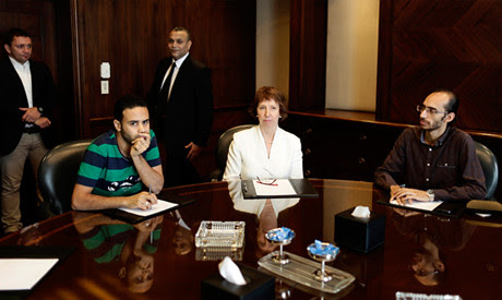 European Union evoy Catherine Ashton with Mahmound Badr and Mohammed Abdel-Aziz of the Egyptian Tamarod (rebel) organization. The organization supported the military seizure of power. by Pan-African News Wire File Photos