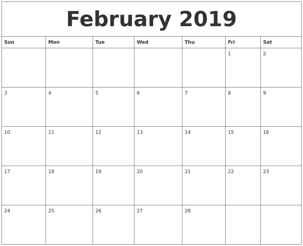 february 2019 create calendar