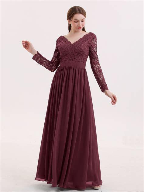 Alina V Neck Lace and Chiffon Dress with Long Sleeves