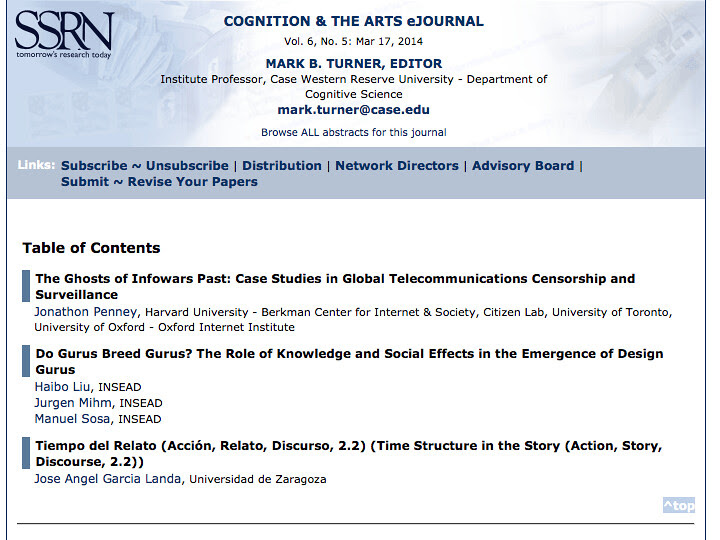 En el Cognition & the Arts eJournal