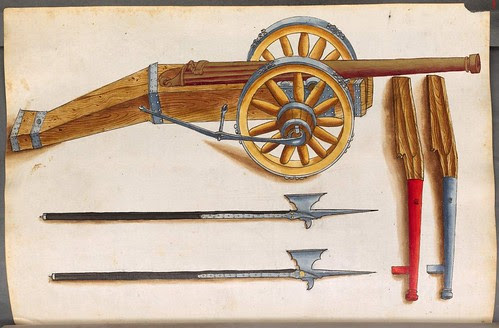 wooden hand cannons, cannon and poleaxes