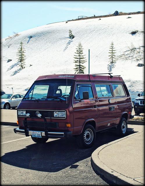 VW Van parked at the Johnston Ridge Observatory - Mt. St. Helens
