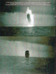 The next five photos show an egg-shaped object of large dimension that falls into the ocean. These pictures seem to come from another laboratory, SYGMA, about which we know nothing. Do these photos present a single and same event or are we dealing with two different events?