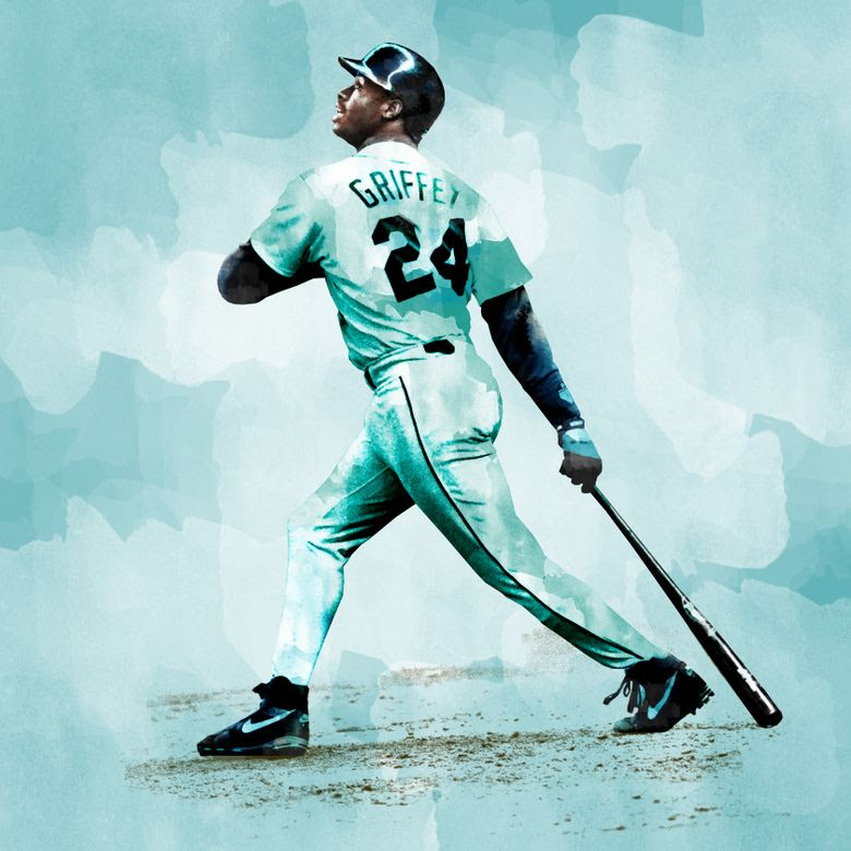 The Mariners' Ken Griffey, Jr. watches a home run fly out of the park. (Greg Gilbert/The Seattle Times)