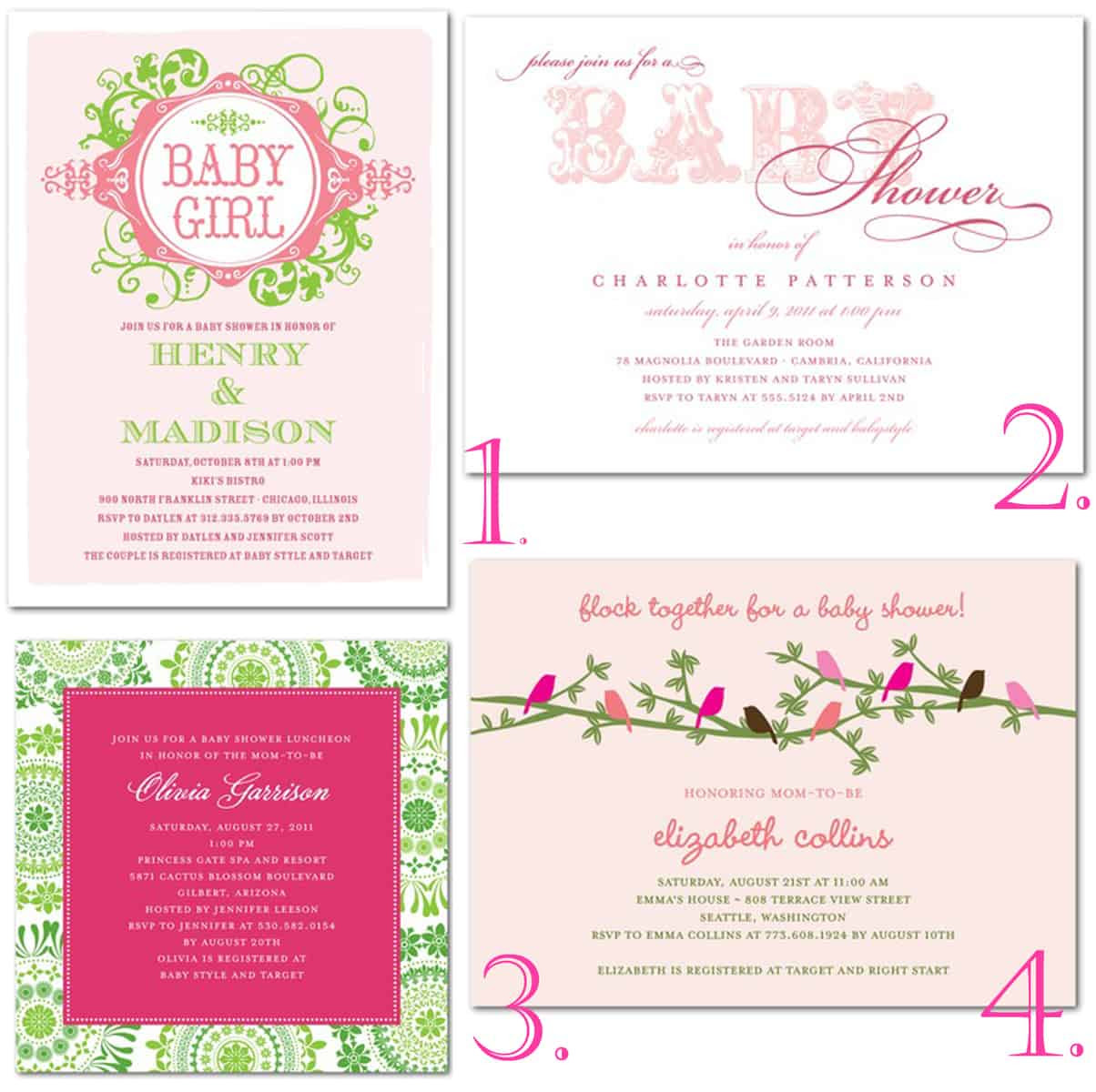 Pink Green Baby Shower Thoughtfully Simple