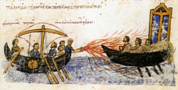 Imagen de un manuscrito iluminado, los Skylitzes Madrid, mostrando fuego griego en uso contra la flota del rebelde Thomas el eslavo.