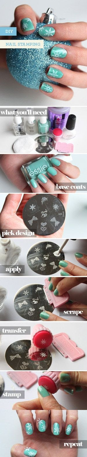 DIY Holiday Nail Stamping