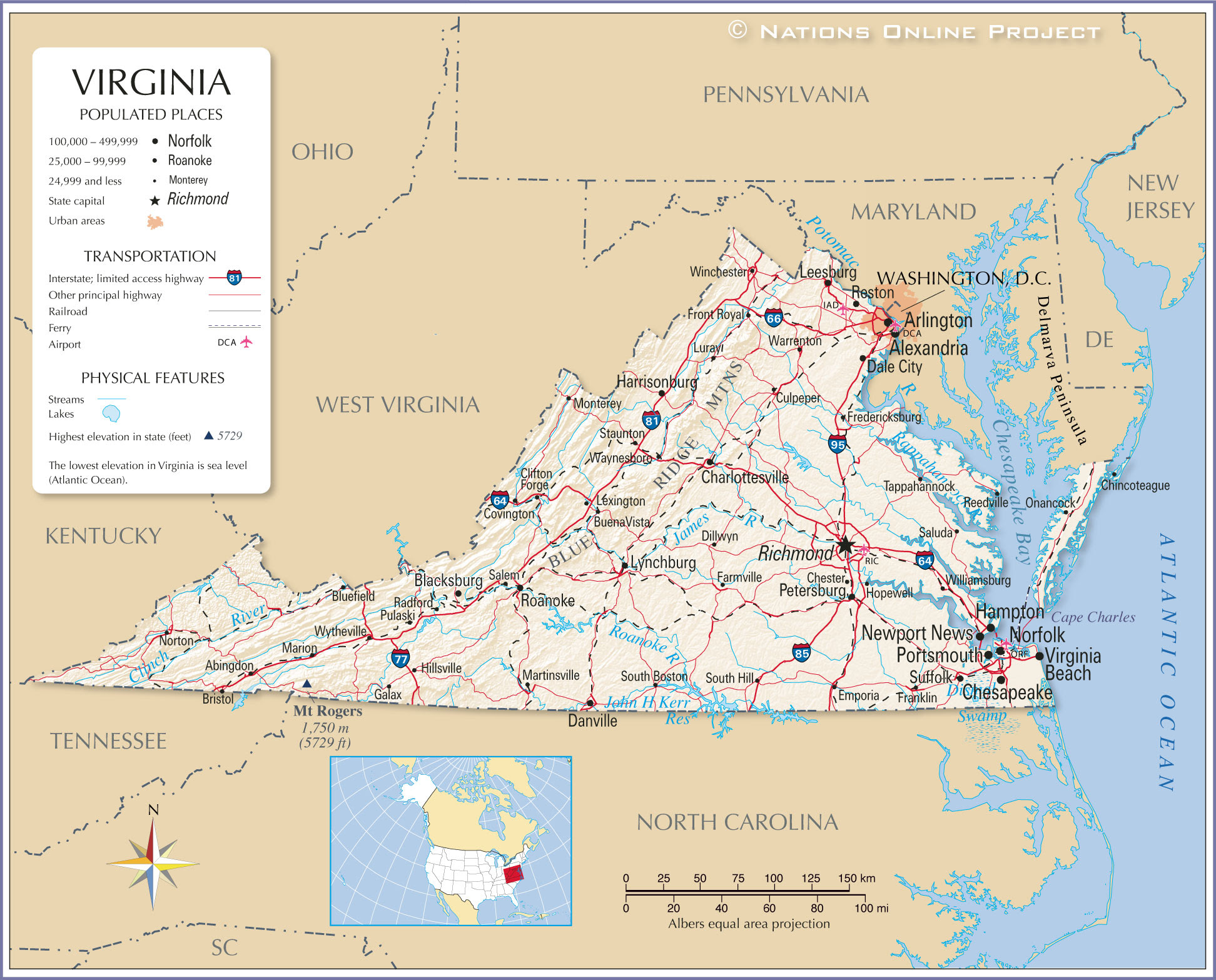 Reference Maps Of Virginia Usa Nations Online Project