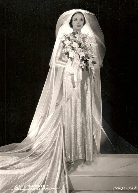 1930's wedding dress with long veil   Gail Patrick, 1936