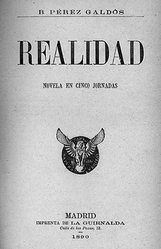 """Resultado de imagen de """"Realidad"""", por supuesto, de Benito Pérez Galdós."""