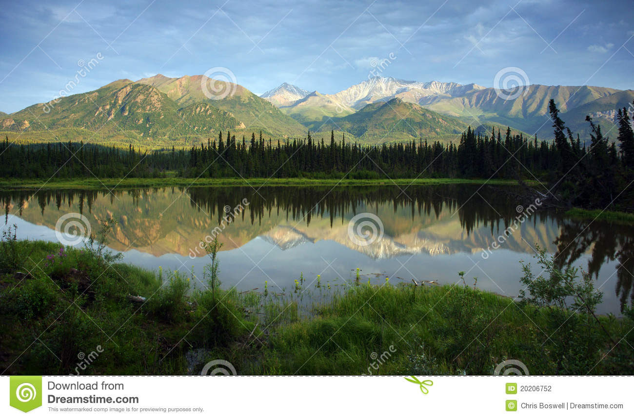 Alaska Mountains And Wilderness Outback Lake Stock Photography  Image