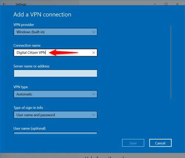 Agregar una conexión VPN: escriba un nombre de conexión