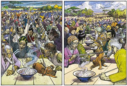 Risultati immagini per Le persone sedute attorno al tavolo erano magre, dall'aspetto livido e malato. Avevano tutti l'aria affamata. Avevano dei cucchiai dai manici lunghissimi, attaccati alle loro braccia.