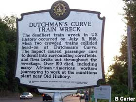 Historical marker for Dutchman's Curve.