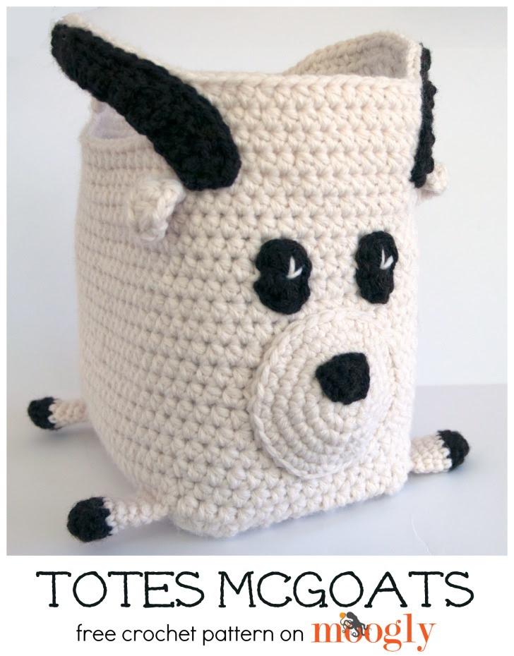 Totes McGoats ... sí, es una bolsa de cabra!  Patrón de ganchillo gratis en Mooglyblog.com!