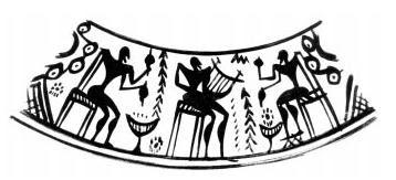 Λεπτομέρεια από μελανόμορφη γεωμετρική οινοχόη, (8ος αι. πΧ), Αθήνα, Εθνικό Αρχαιολογικό Μουσείο  (14kb)