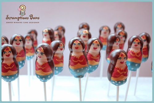 Wonder Woman Cake Pops by Scrumptious Buns (Samantha)