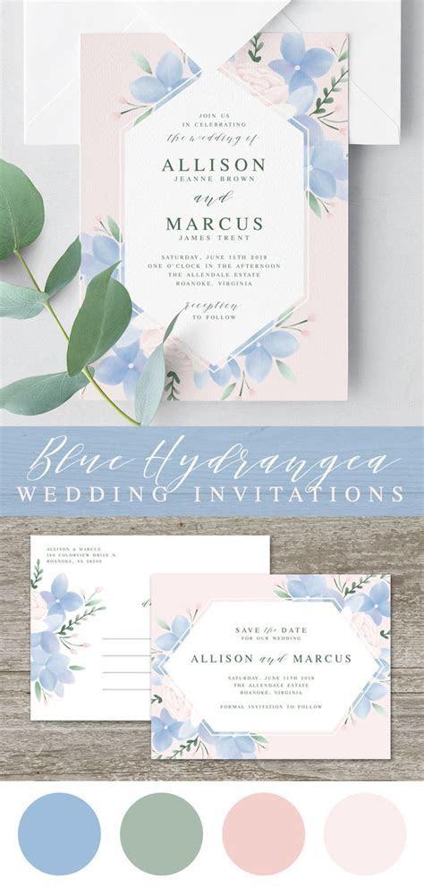 Hydrangea Wedding Invitation Template, Printable Wedding