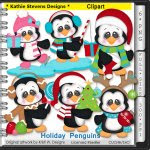Holiday Penguins Clipart - CU