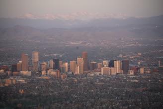 Denver Sunrise Aerial 3 min after sunrise