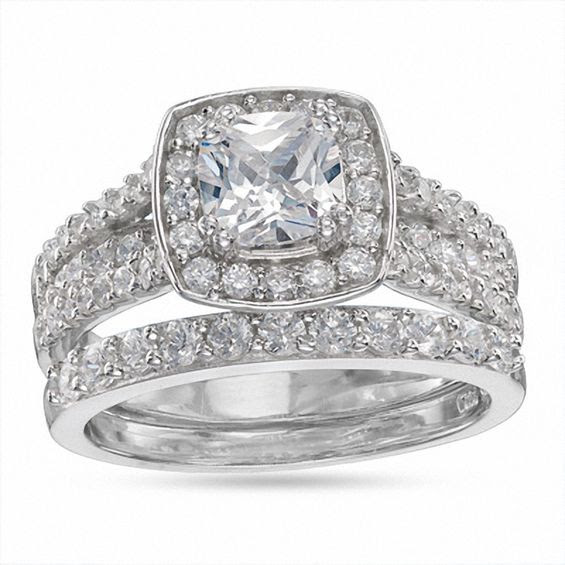 7mm Cubic Zirconia Frame Engagement Ring In Sterling Silver Size 7