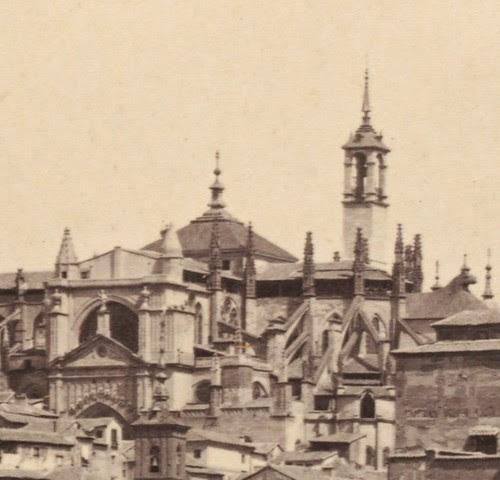 Torre del reloj de la Catedral de Toledo hacia 1860. Detalle de una fotografía de Francis Frith