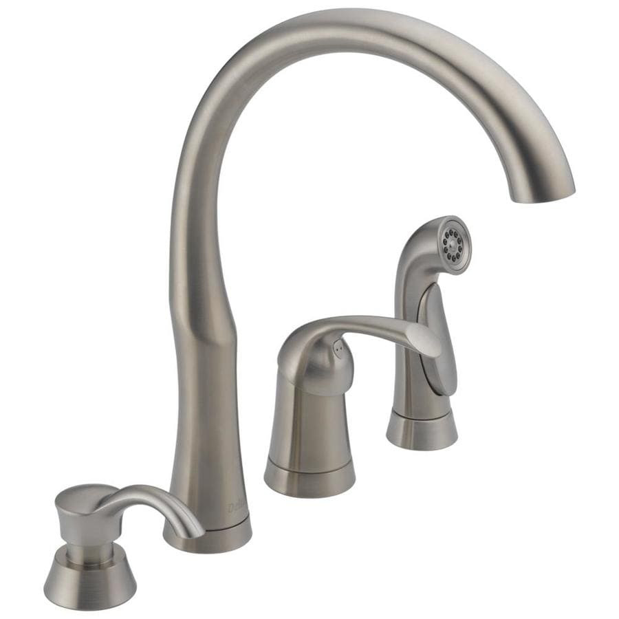 Delta Bellini Stainless 1 Handle Deck Mount Low Arc Handle Kitchen Faucet In The Kitchen Faucets Department At Lowes Com