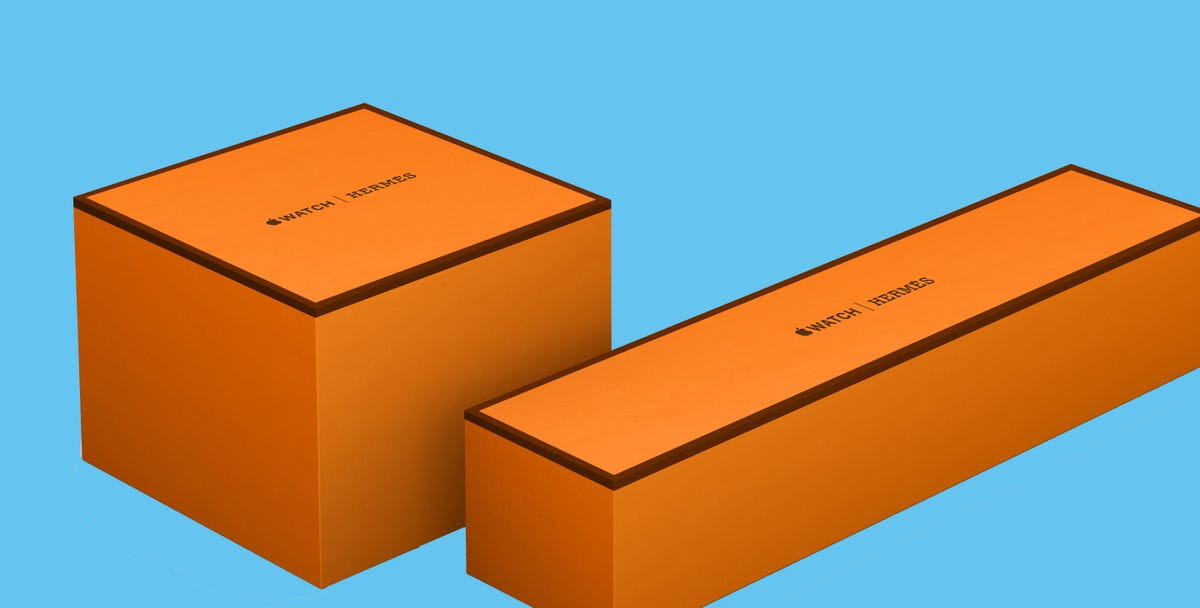 All Hermes Apple Watch purchases come in Hermes' signature orange boxes.