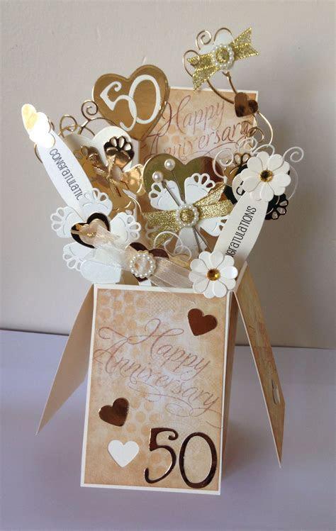 50th Wedding Anniversary card   box / pop up card   Card