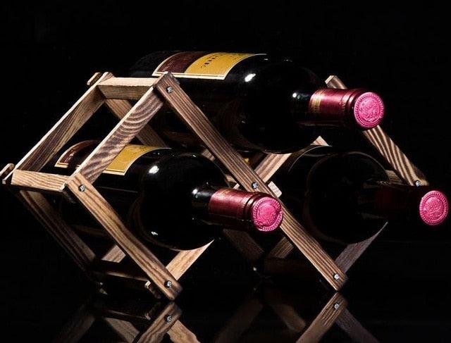 3 Bottle Wooden Wine Rack Natural Wood Carbonized Wood