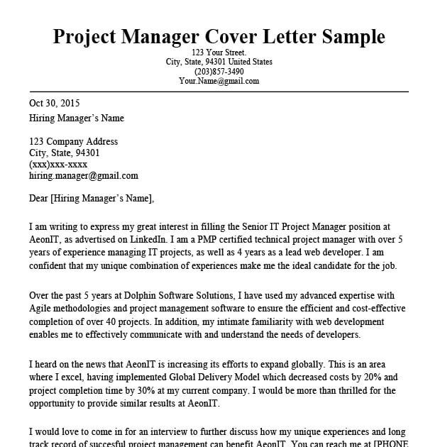 73 FREE COVER LETTER FOR PROJECT MANAGER PDF DOWNLOAD DOCX