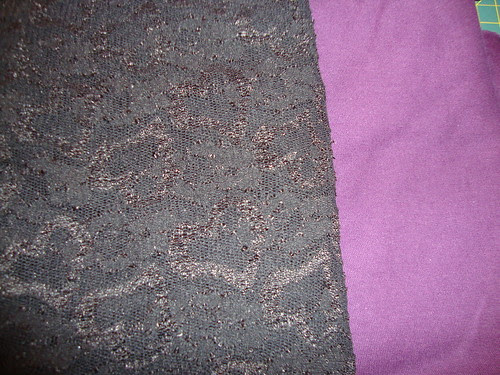 stretch lace and purple knit from Discount Fabrics in SD