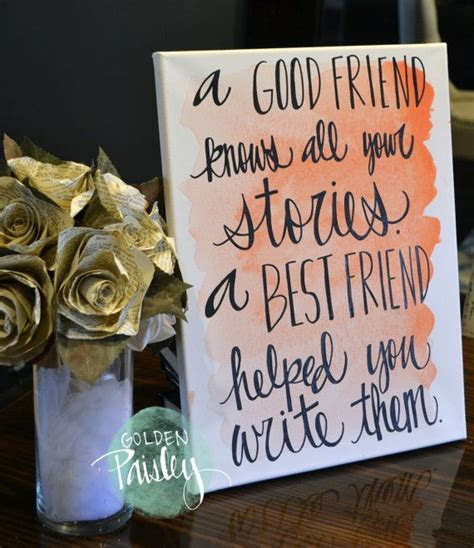 Bridesmaid Gift Watercolor Friendship Quote Canvas