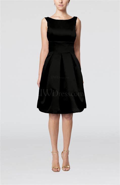 Black Plain A line Sleeveless Knee Length Sash Bridesmaid