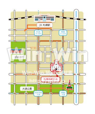 札幌時計台までの地図 W 020261 の無料cgイラスト素材