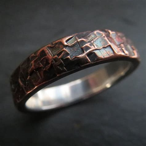 Mens Ring Wedding Unusual Rustic Steampunk Hammered Copper